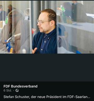 Stefan Schuster,  Präsident des FDF Landesverbands Saar